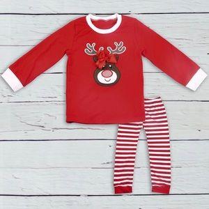 NEW Girl's Christmas Deer Pajama Set